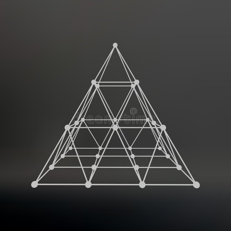 Wireframe siatki poligonalny ostrosłup Ostrosłup royalty ilustracja
