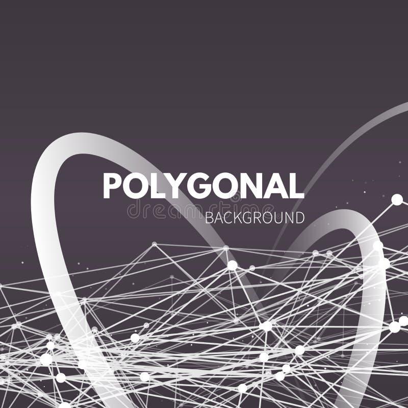Wireframe siatki poligonalny tło Fala z ilustracji