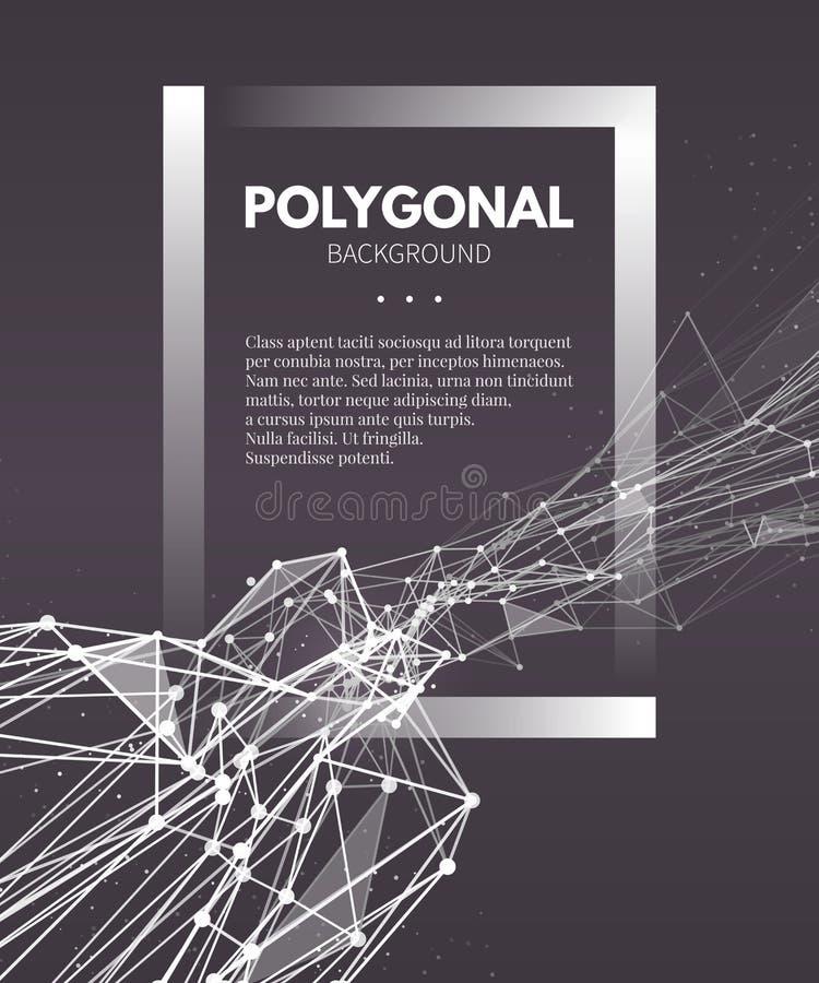 Wireframe siatki poligonalny tło Fala z royalty ilustracja