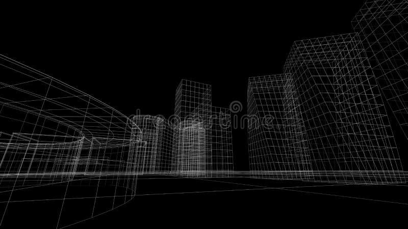Wireframe sikt av några byggnader fotografering för bildbyråer