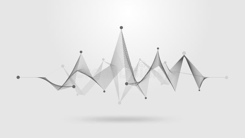 Wireframe solid våg stock illustrationer