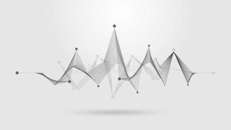 Wireframe sound wave stock illustration