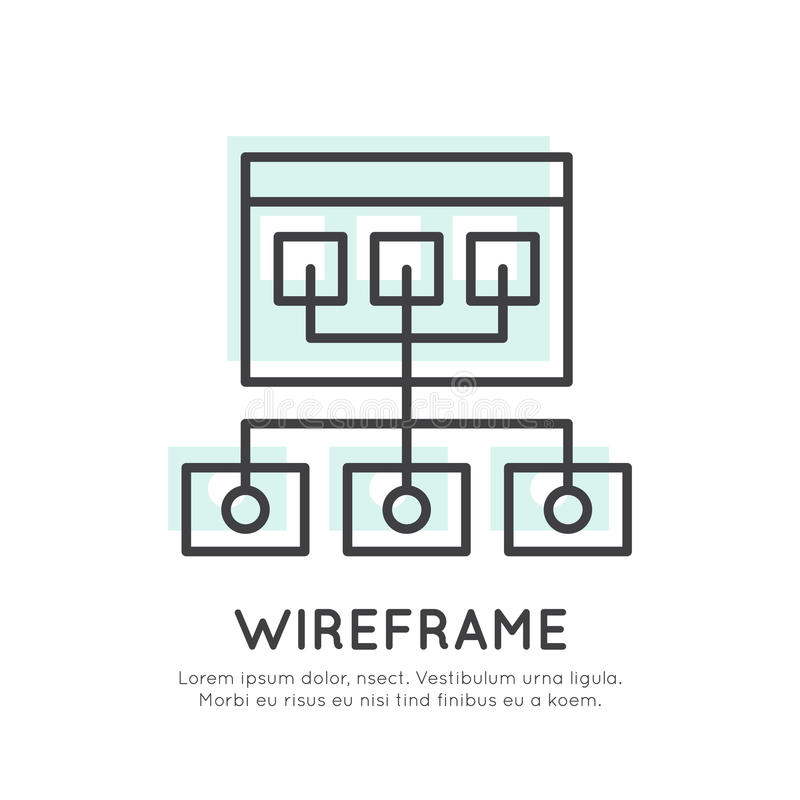 Wireframe Structure Layout. Vector Icon Style Illustration of Wireframe Structure Layout, UX UI User Interface and User experience Process Concept, Editable vector illustration