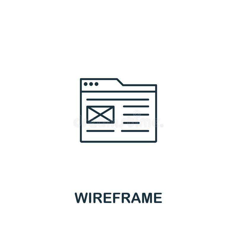 Wireframe symbol Tunn översiktsstildesign från designui och uxsymbolssamling Idérik Wireframe symbol för rengöringsdukdesign royaltyfri illustrationer