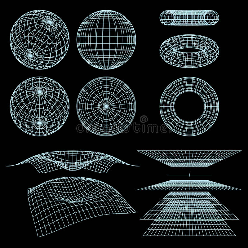 Wireframe Symbole lizenzfreie abbildung
