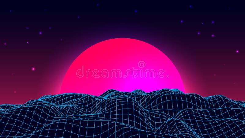 Wireframe tła krajobraz 1980s fala retro styl fantastyka naukowa futurystyczna wektorowa ilustracja wschód słońca lub zmierzch royalty ilustracja
