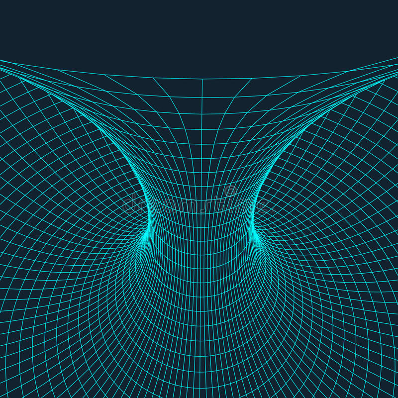 Wireframe torus with connected lines and dots . Mesh polygonal element. Vector Illustration EPS10. royalty free illustration