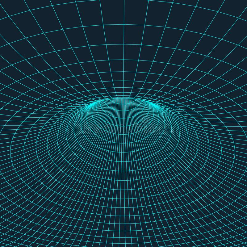 Wireframe torus z związanymi liniami i kropkami Siatka poligonalny element Wektorowa ilustracja EPS10 royalty ilustracja