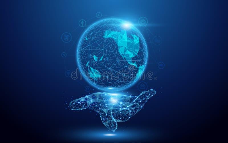 Wireframe un mapa del globo con los iconos sociales a mano firma la malla de un estrellado en fondo azul ilustración del vector