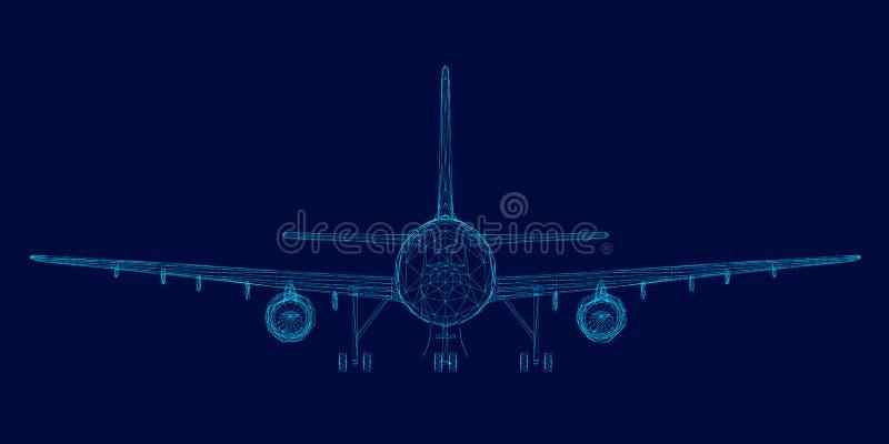 Wireframe van de passagiersvliegtuigen van de blauwe lijnen op een donkere achtergrond Front View Vector illustratie stock illustratie