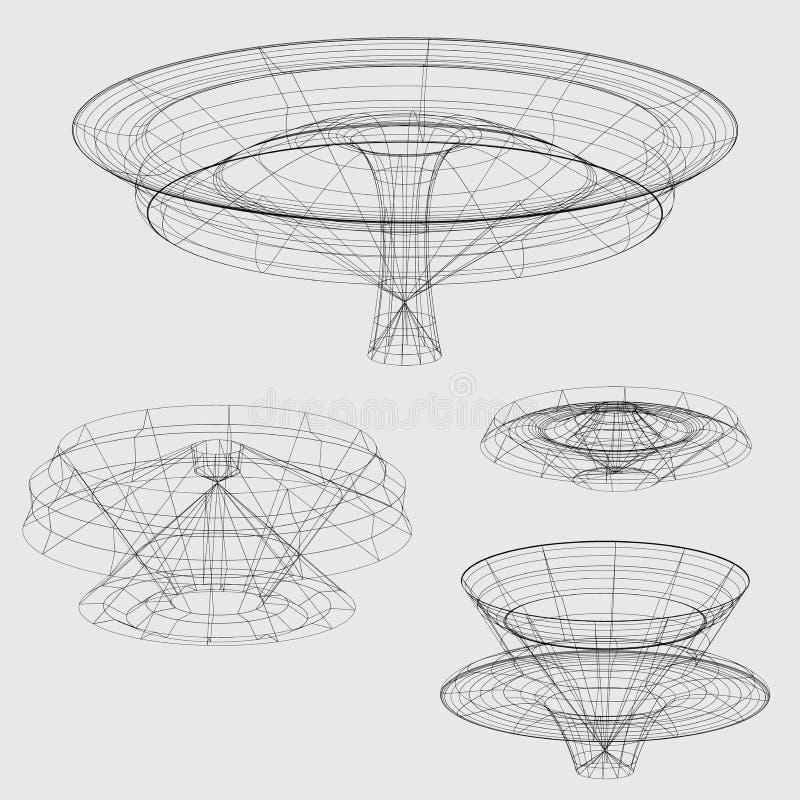Wireframe van diverse vormen op grijze achtergrond vector illustratie