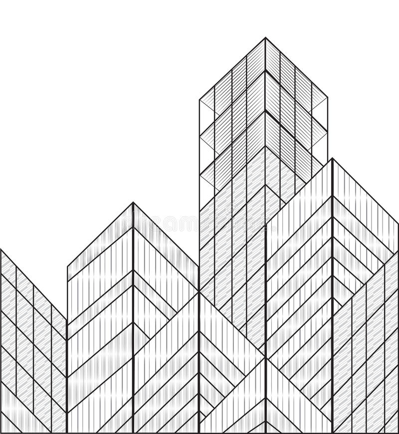 Wireframe vector buildings vector illustration