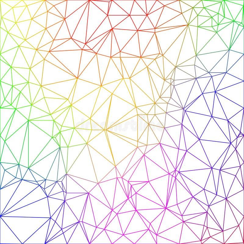 Wireframe veelhoekig abstract netwerk in regenboogkleuren op witte achtergrond royalty-vrije illustratie