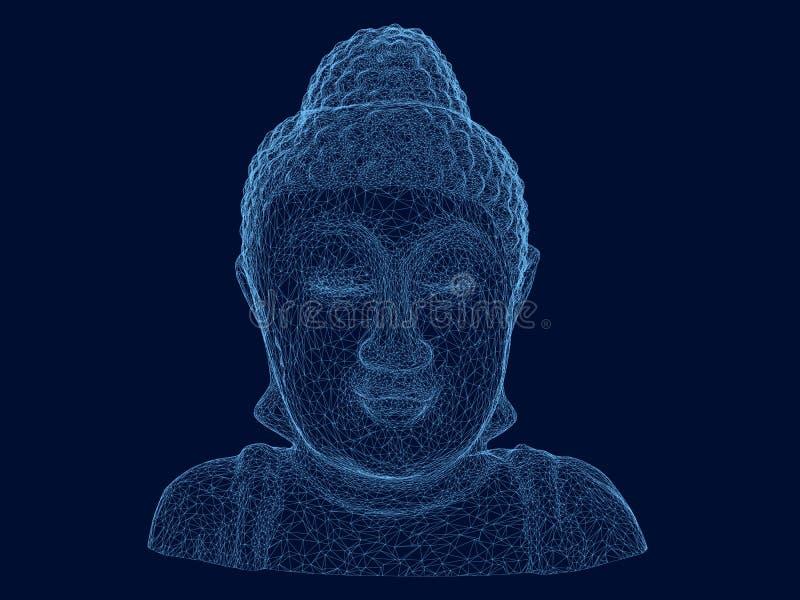 Wireframe veelhoekige mislukking van Boedha Het standbeeld van Boedha van blauwe lijnen op een donkere achtergrond 3d Vector illu stock illustratie