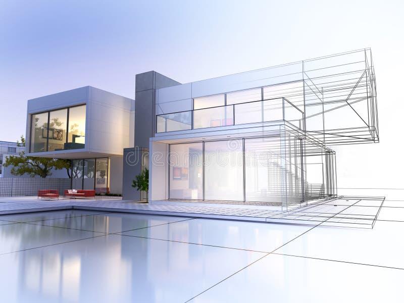 Wireframe villa vektor illustrationer
