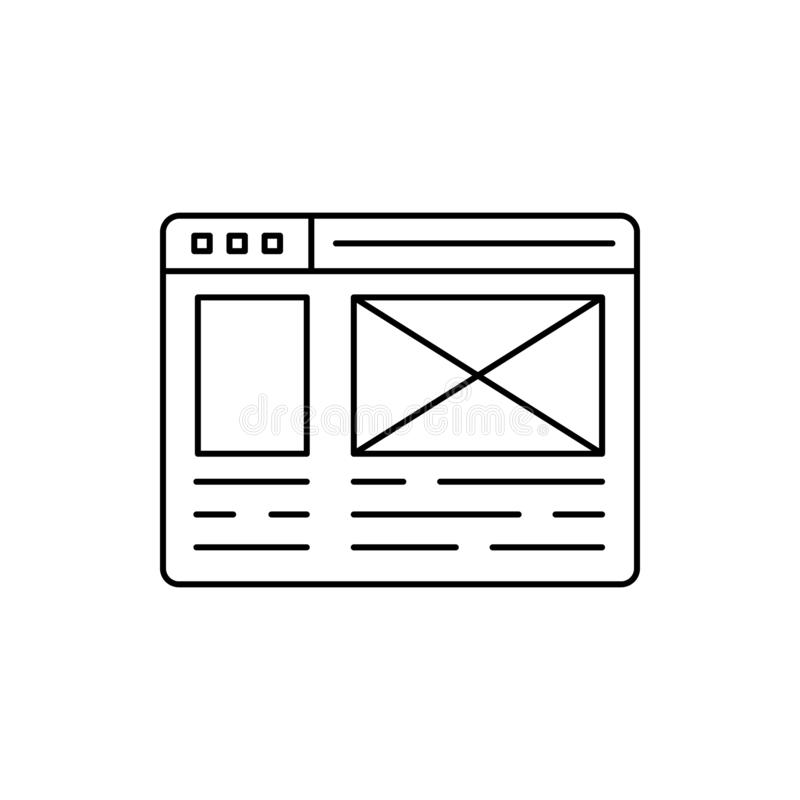 Wireframe web page icon. Element of user experience icon royalty free illustration