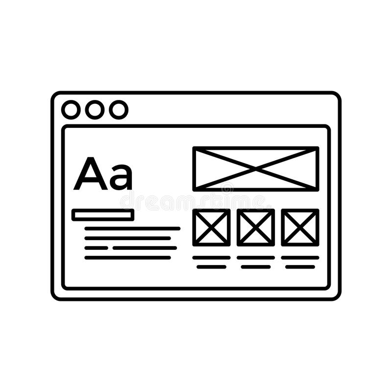 Wireframe in window lined icon. Website page line icon. Web page user interface in browser window. Isolated vector lined royalty free illustration