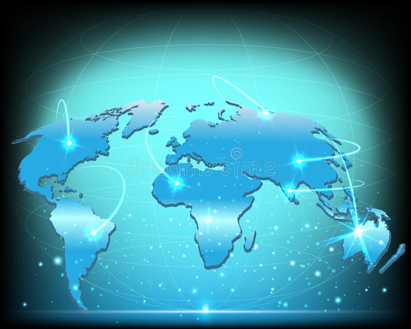 Wireframe world map global internet network connection big data stock illustration