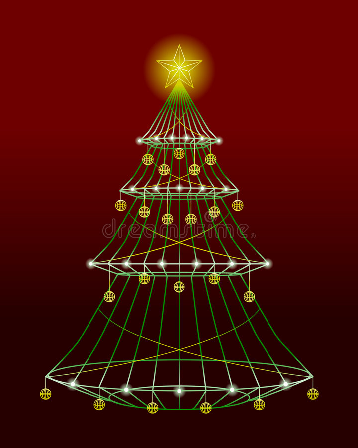 Wireframe Xmas Tree stock vector. Illustration of burgundy - 6015284