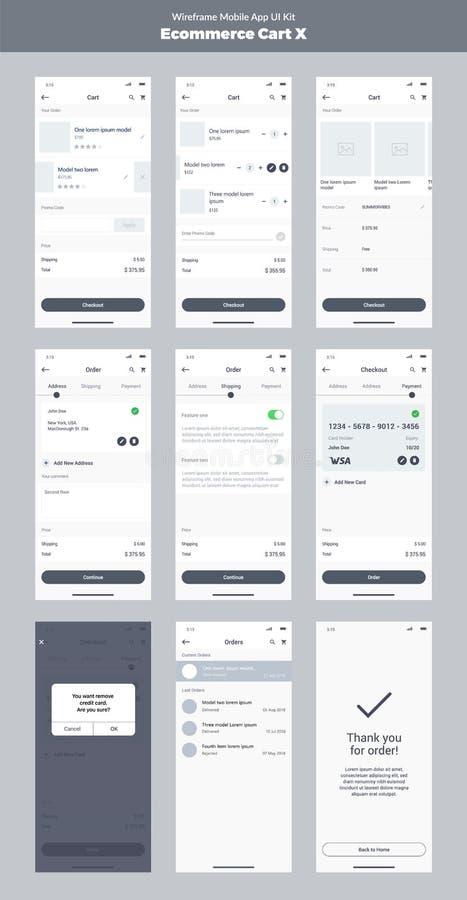 Wireframe zestaw dla telefonu komórkowego Wisząca ozdoba App UI, UX projekt  ilustracji