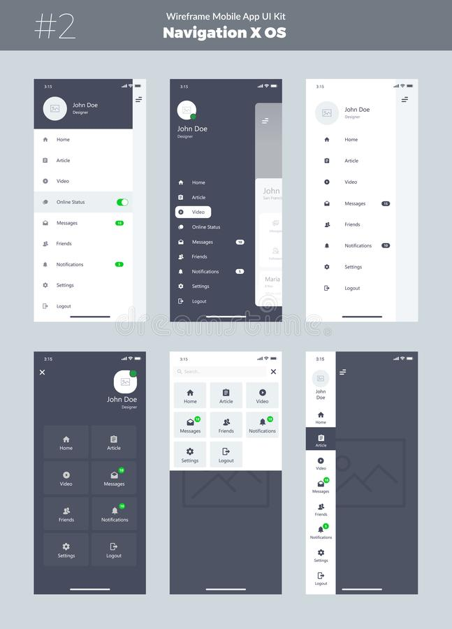 Wireframe zestaw dla telefonu komórkowego X Wisząca ozdoba App UI, UX projekt Nowa OS nawigacja Menu ekrany royalty ilustracja