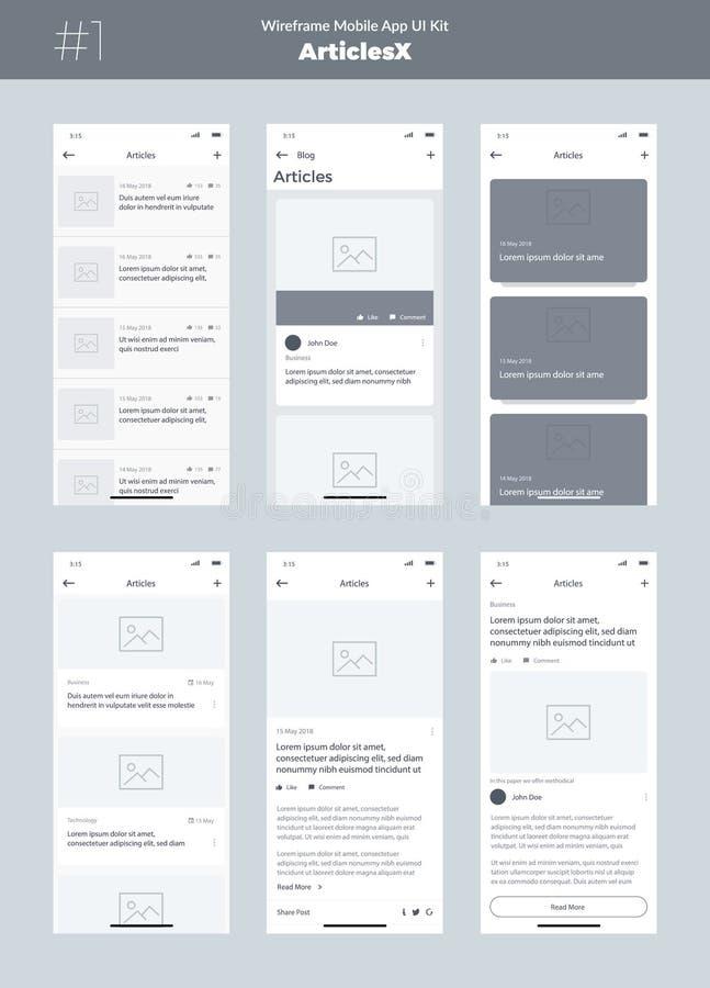 Wireframe zestaw dla telefonu komórkowego Wisząca ozdoba App UI, UX projekt Nowi OS artykuły ilustracji