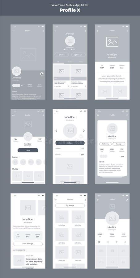 Wireframe zestaw dla telefonu komórkowego Wisząca ozdoba App UI, UX projekt Nowi profili/lów ekrany ilustracji