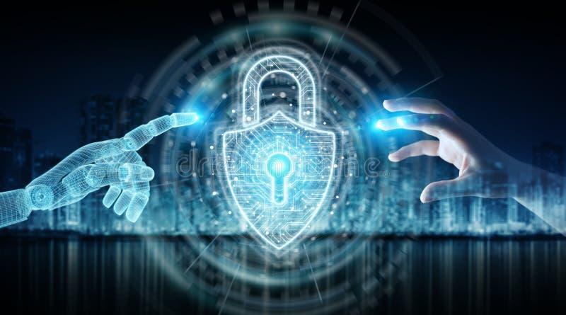 Wireframed机器人手和接触数字挂锁安全3D翻译的人的手 向量例证