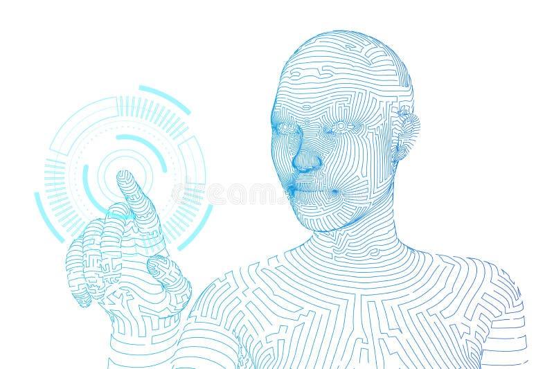 Wireframed żeński cyborg dotyka cyfrowego wykresu interfejs ai sztuczny m??d?kowy obwod?w poj?cia elektronicznej inteligenci main royalty ilustracja