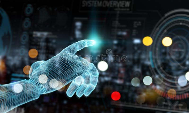 Wireframed blue robot hand touching graph interface on dark background 3D rendering royalty free illustration