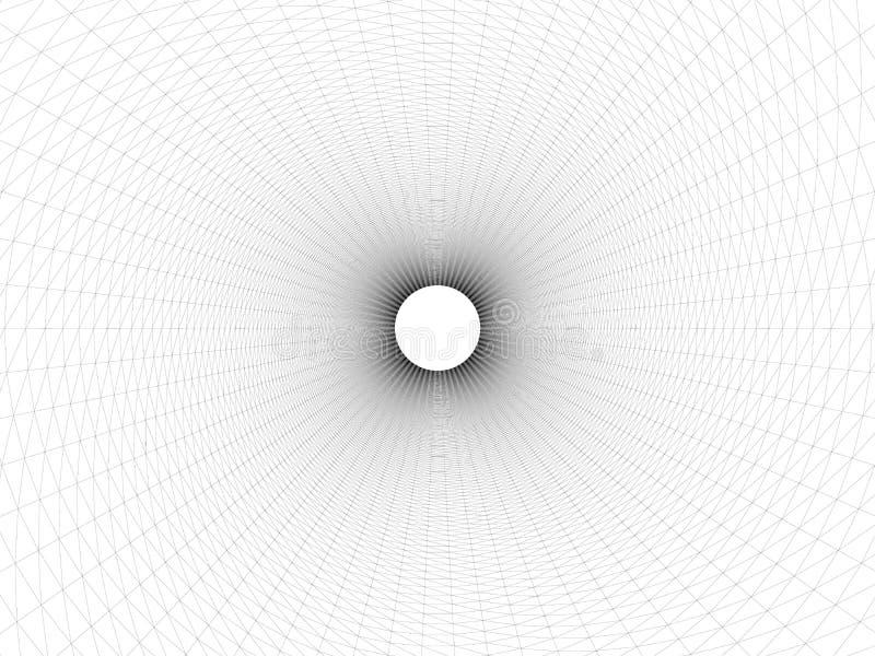 Wireframed dziura Wektorowy abstrakcjonistyczny cyfrowy t?o 3D tunelu siatka Wireframe 3D powierzchni tunel Siatki tekstura royalty ilustracja