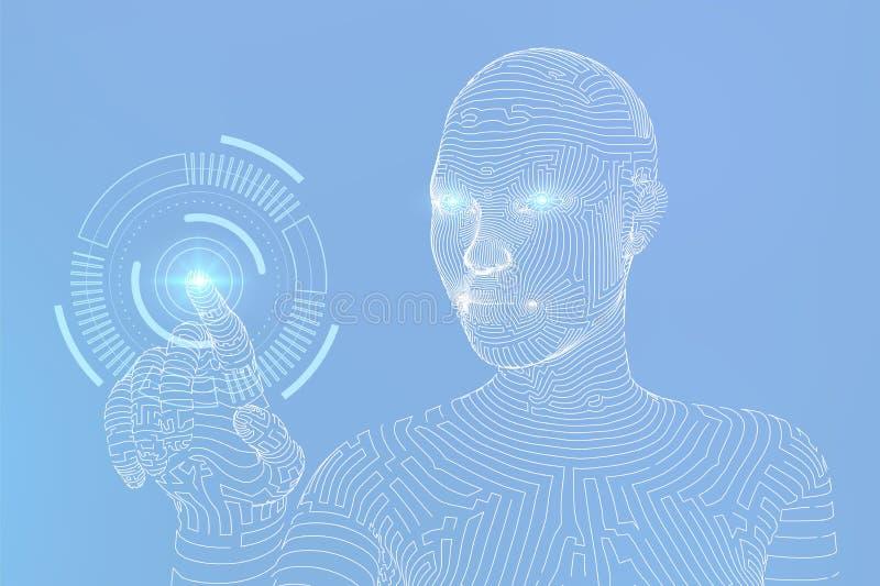 Wireframed ?e?ski cyborg dotyka cyfrowego wykresu interfejs ai sztuczny m??d?kowy obwod?w poj?cia elektronicznej inteligenci main ilustracji