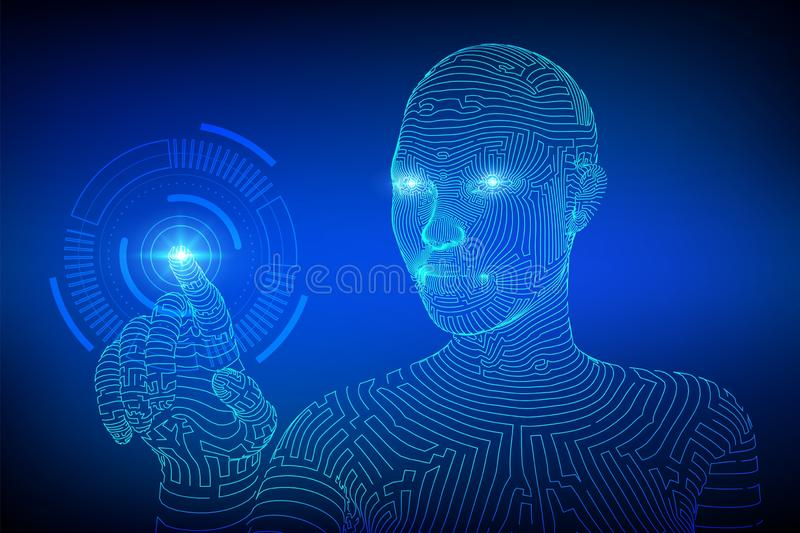Wireframed female cyborg touching digital graph interface. AI. Artificial intelligence concept. Robotic hand touching. Digital interface. Touch the future stock illustration