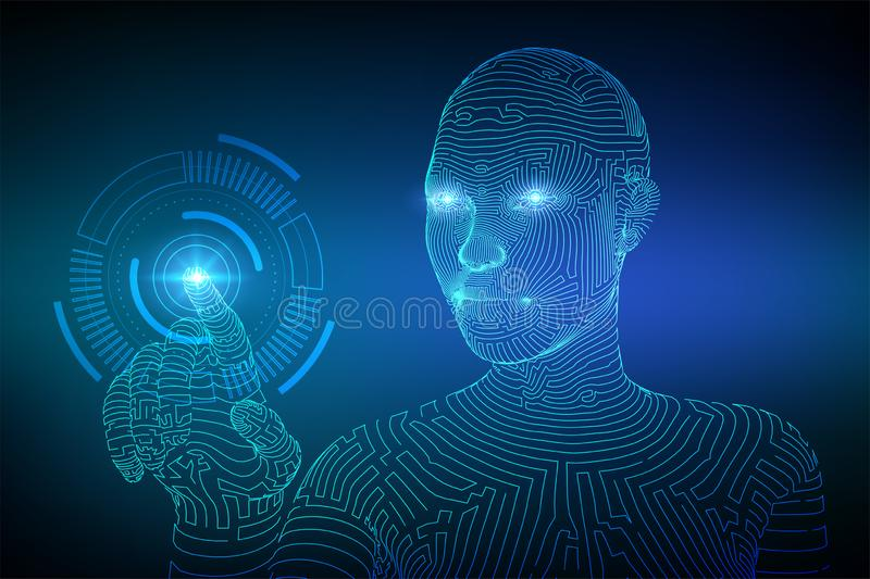 Wireframed female cyborg touching digital graph interface. AI. Artificial intelligence concept. Robotic hand touching digital. Interface. Touch the future vector illustration