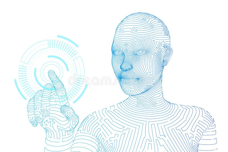 Wireframed female cyborg touching digital graph interface. AI. Artificial intelligence concept. Robotic hand touching. Digital interface. Touch the future royalty free illustration