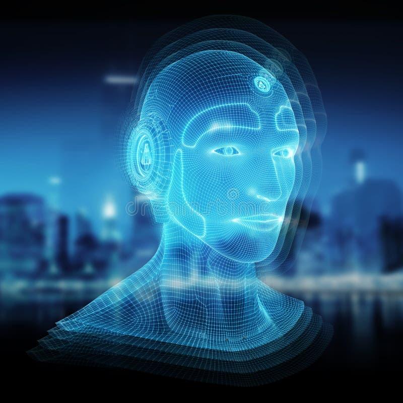 Wireframed mechanicznego mężczyzny sztucznej inteligencji 3D kierowniczy reprezentuje rendering ilustracji