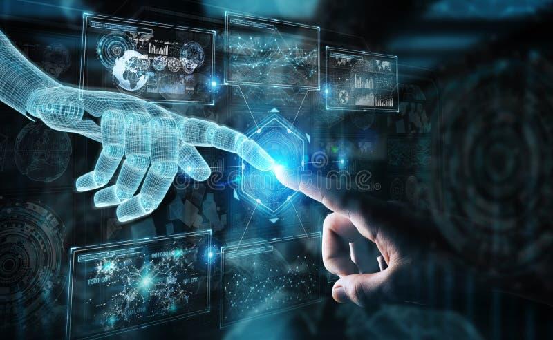 Wireframed robota ręka i ludzka ręka dotyka cyfrowego wykresu interfejs na ciemnym 3D renderingu royalty ilustracja