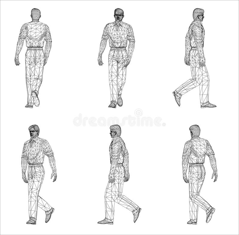 Wireframeontwerp van de Mens vector illustratie