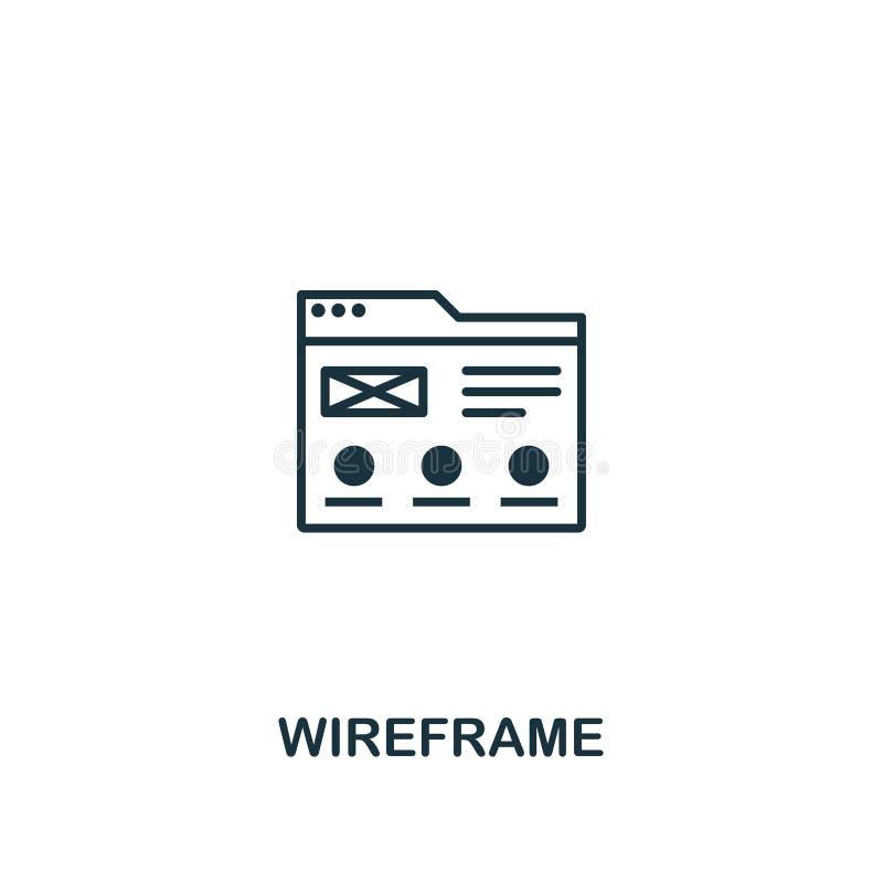 Wireframepictogram Het ontwerp van de premiestijl van ontwerp ui en ux pictograminzameling Pictogram van pixel het perfecte Wiref vector illustratie