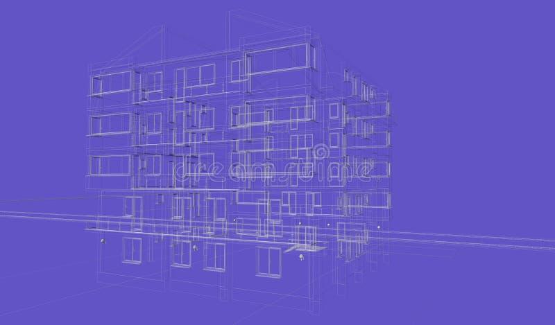 Wireframes azuis exteriores da construção do fundo, rendição do projeto, arquitetura ilustração do vetor