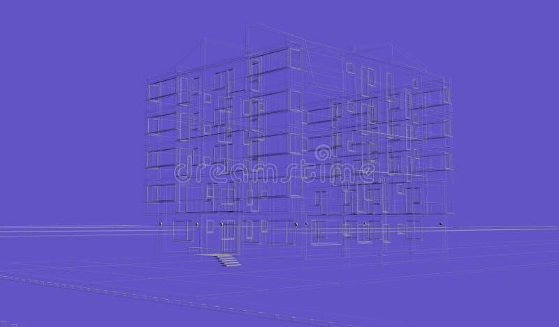 Wireframes azuis exteriores da construção do fundo, rendição do projeto, arquitetura ilustração stock