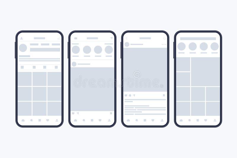 Wireframes de las páginas sociales de la red en la pantalla del smartphone Maqueta ilustración del vector