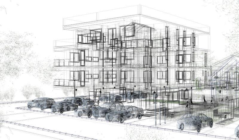 Wireframes esteriori della costruzione, rappresentazione di progettazione, architettura illustrazione vettoriale