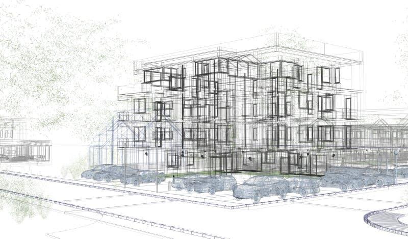 Wireframes exteriores da construção, rendição do projeto, arquitetura ilustração royalty free