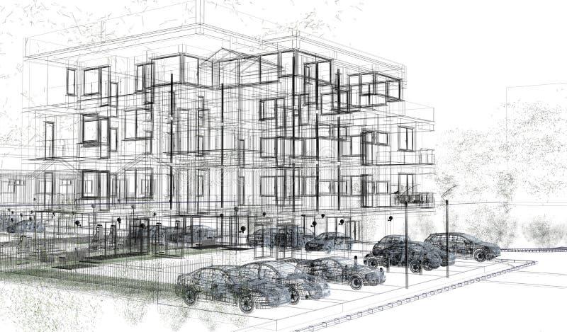 Wireframes exteriores da construção, rendição do projeto, arquitetura ilustração stock