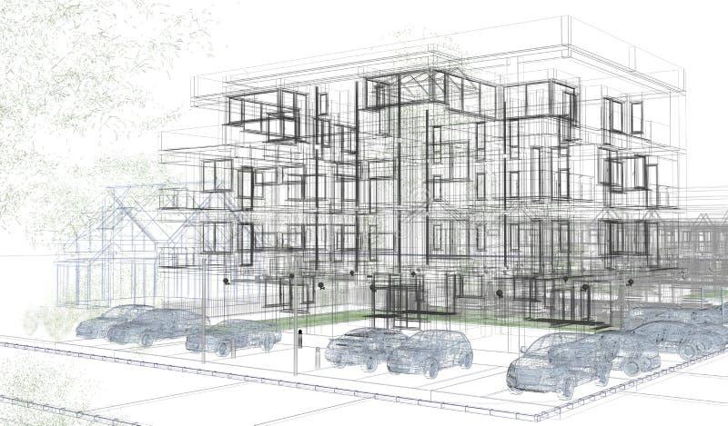 Wireframes exteriores da construção, rendição do projeto, arquitetura ilustração do vetor