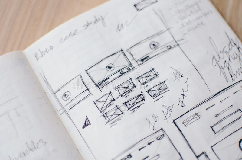 Wireframes manuscrits d'UX image stock
