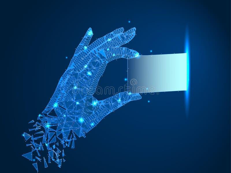 wireframestruktur En hand drar ut eller väljer upp en chip, ett kort eller ett affärskort Abstrakt polygonal illustration på mörk stock illustrationer