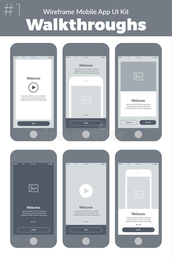 Wireframeui uitrusting voor mobiele telefoon De mobiele App Analysesschermen stock illustratie