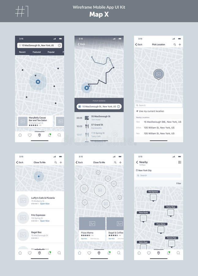 Wireframeuitrusting voor mobiele telefoon Mobiele App UI, UX-ontwerp Nieuwe kaartpositie vector illustratie